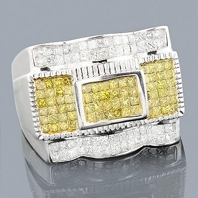 14K White Yellow Diamond Mens Ring 1.62ct