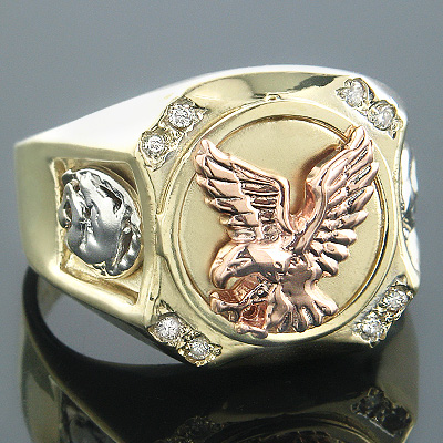 14K White Yellow Rose Gold Diamond Mens Eagle Ring 0.10