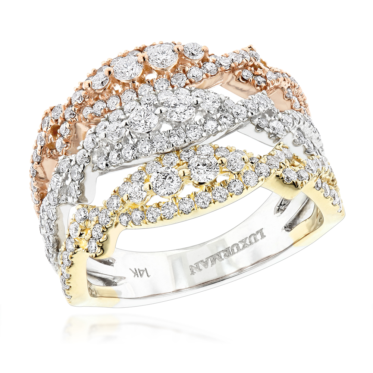 14K White Yellow Rose Gold Diamond Stacking Ring for Women 1.6c by Luxurman