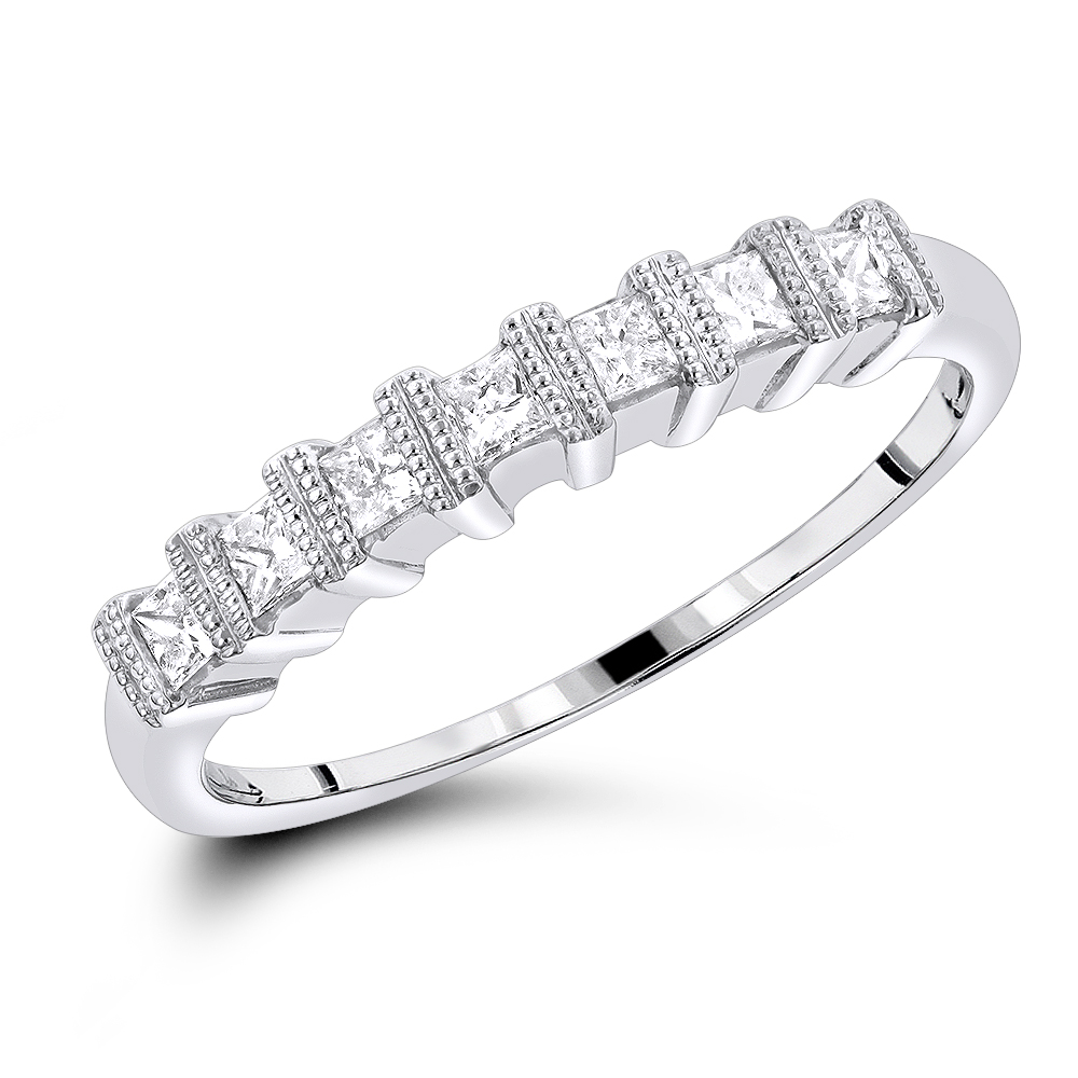 Thin 14K Gold Womens Diamond Wedding Band Princess Cut 0.60ct