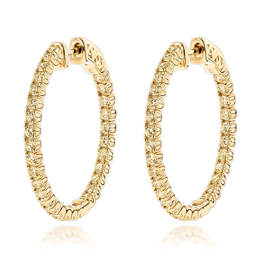 14K Yellow Diamond Hoop Earrings 2 Carats Inside Out Design by Luxurman
