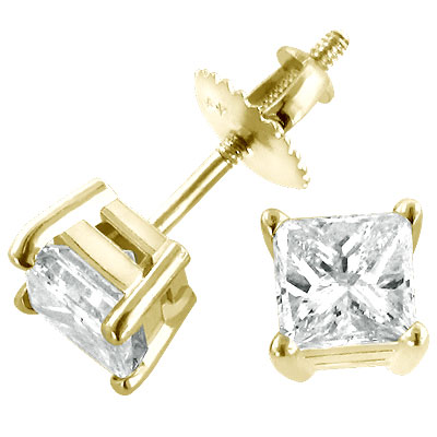 14K Yellow Gold Diamond Stud Earrings Princess 1.50ct