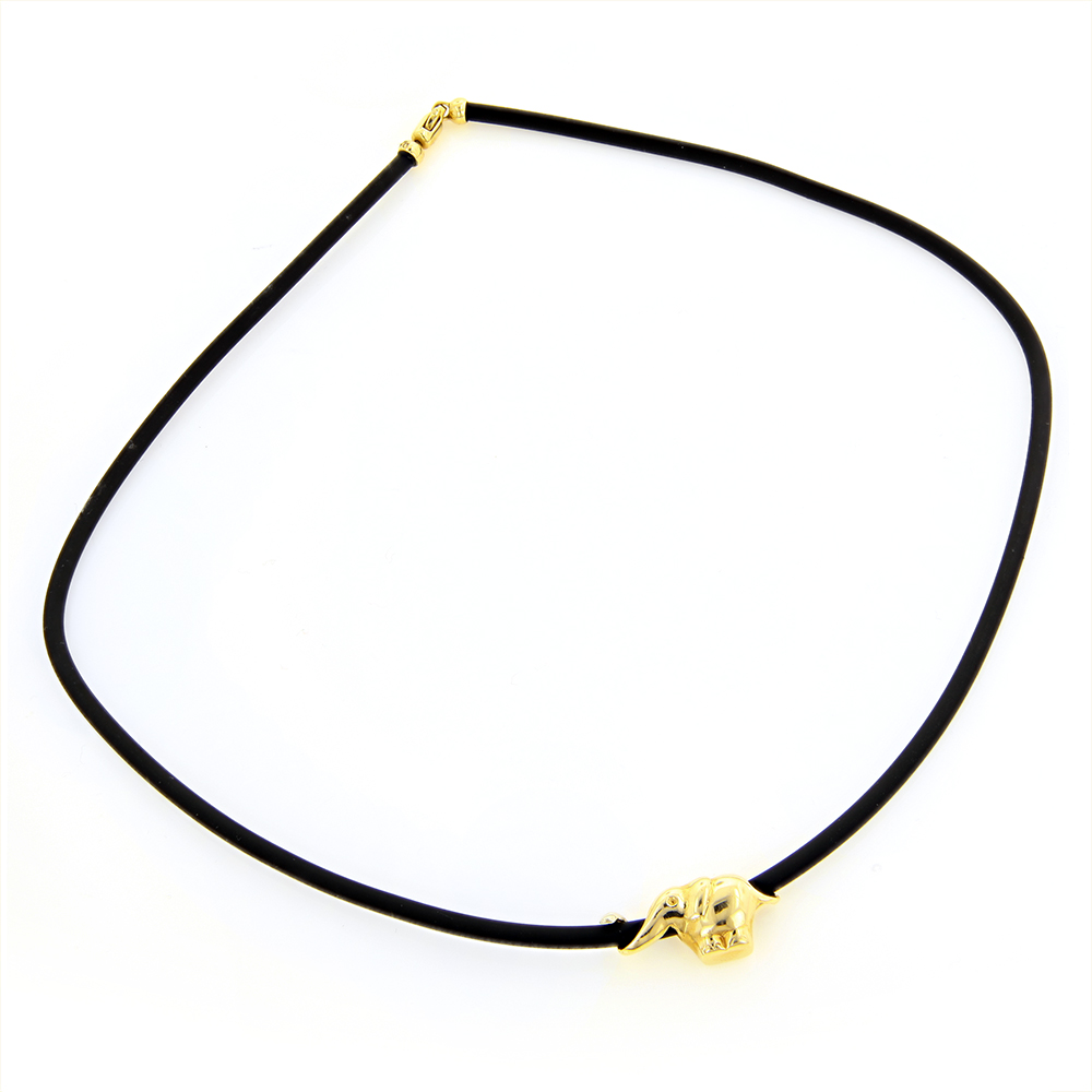 14K Yellow Gold Elephant Rubber Necklace