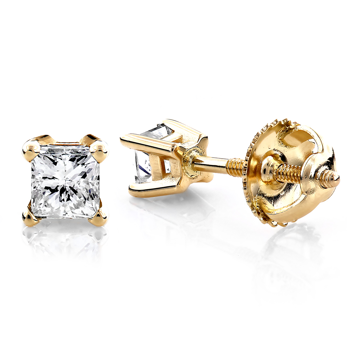 14K Yellow Gold Princess Diamond Stud Earrings 0.25ct