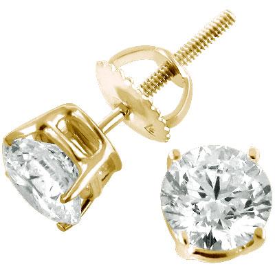 14K Yellow Gold Round Diamond Stud Earrings 1.75ct