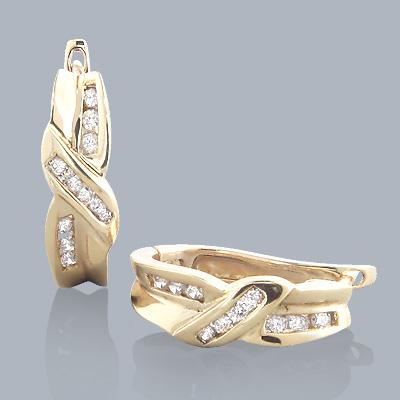 14K Yellow Gold Twist Diamond Earrings 0.45ct