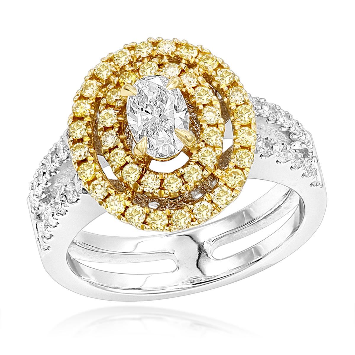 Unique 18K 2 Tone Gold Oval Diamond Engagement Ring White & Yellow Diamonds