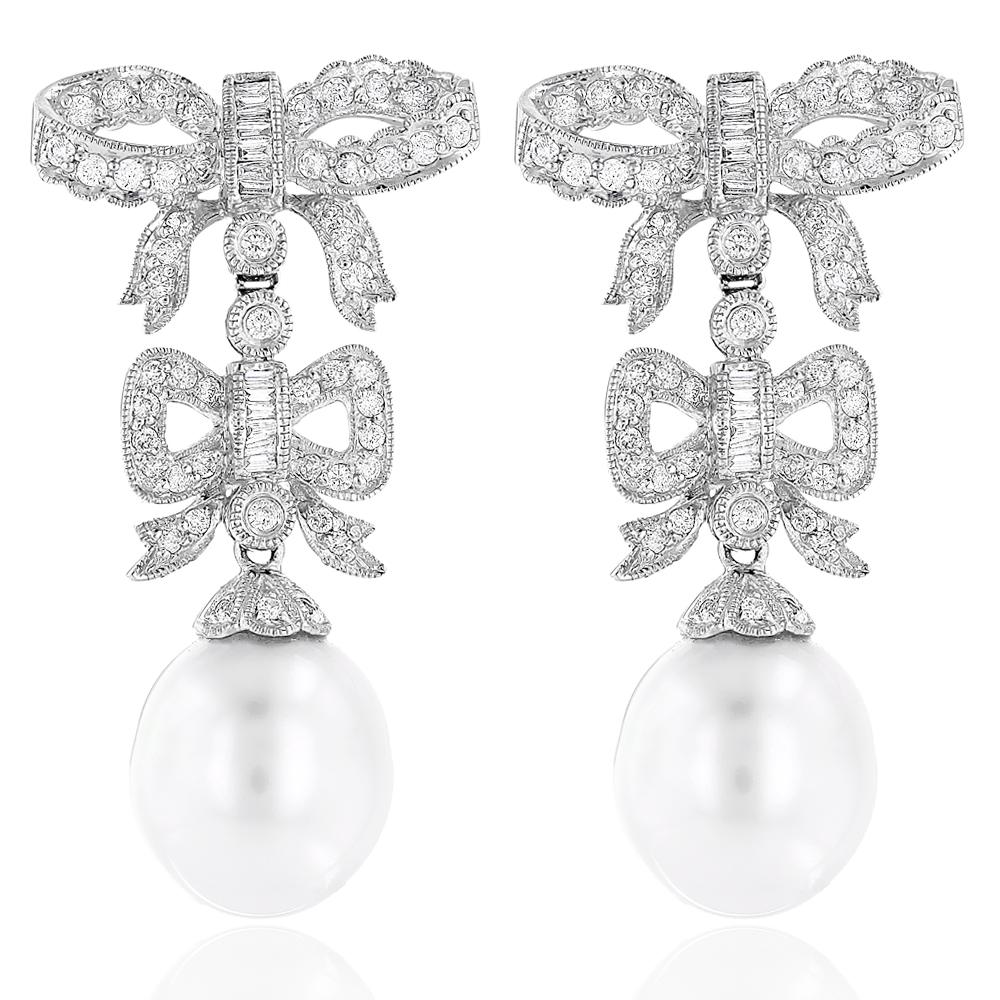 18K Diamond South Sea Pearl Earrings Bowtie 1.22ct