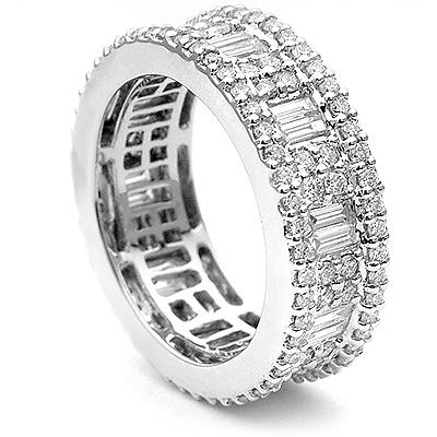 18K Gold Art Deco Style Diamond Eternity Ring 2.82ct