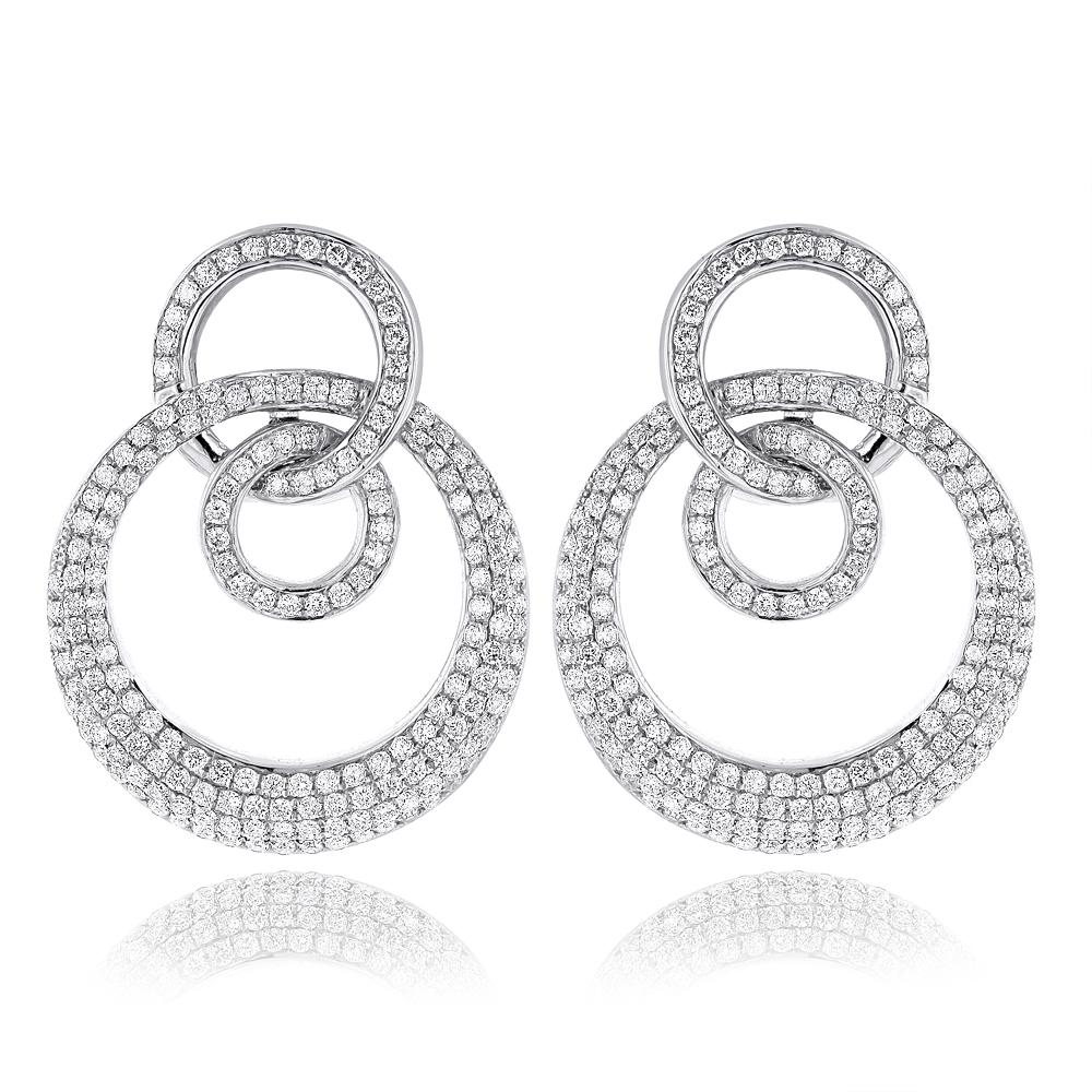18K Gold Designer Circle Diamond Earrings 2.55ct