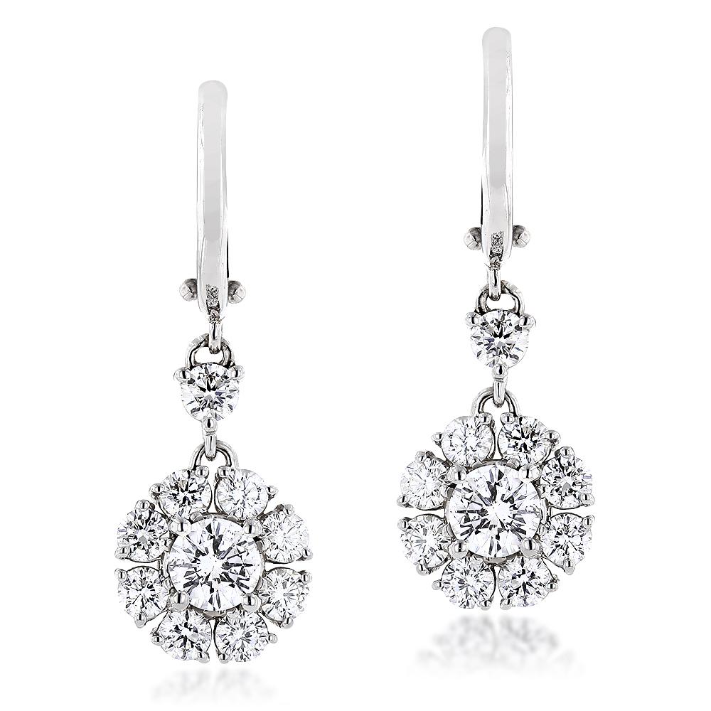 18K Gold Designer Cluster Diamond Earrings 2.78ct VS Diamonds Luccello