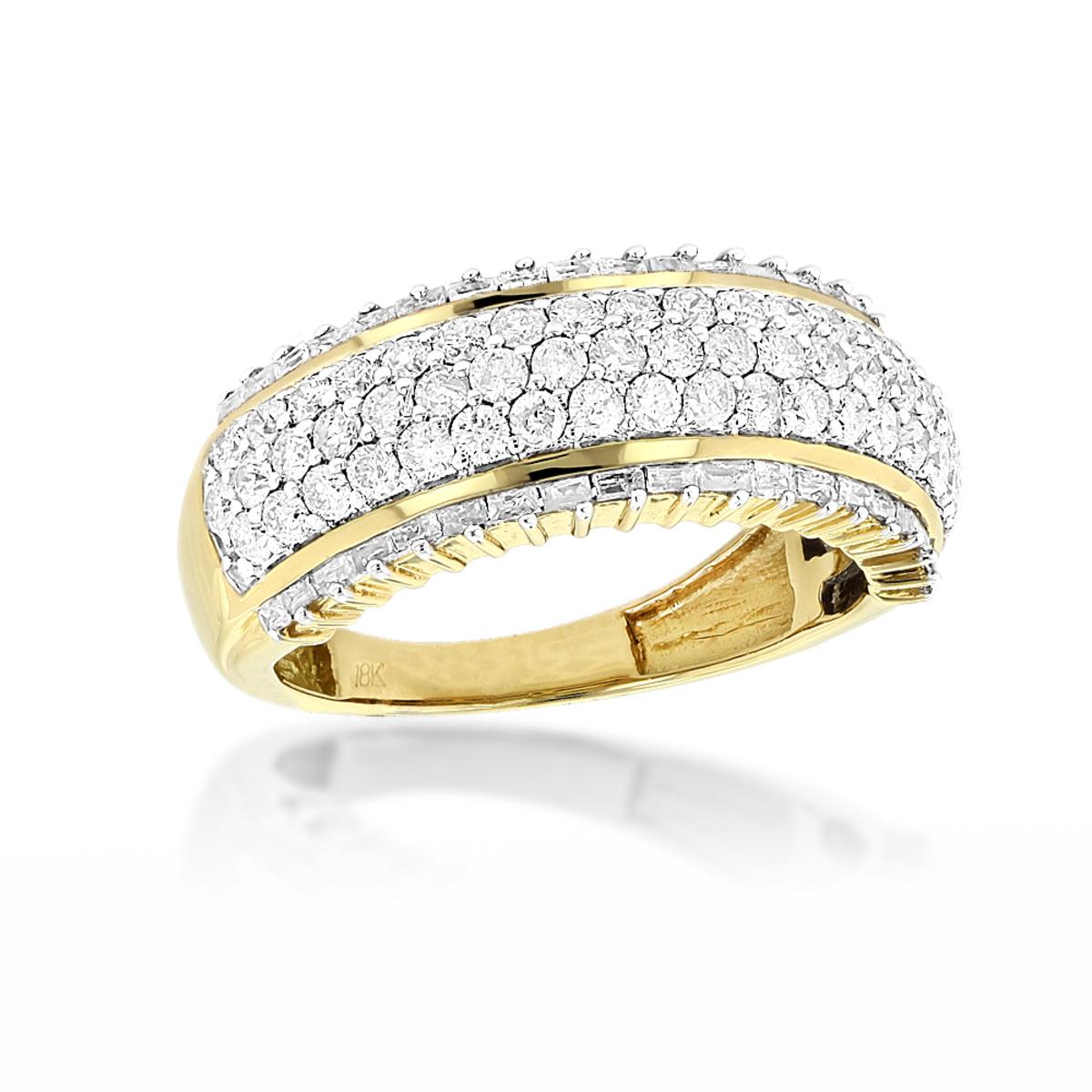 18K Gold Designer Diamond Band Round Baguette 2.34ct
