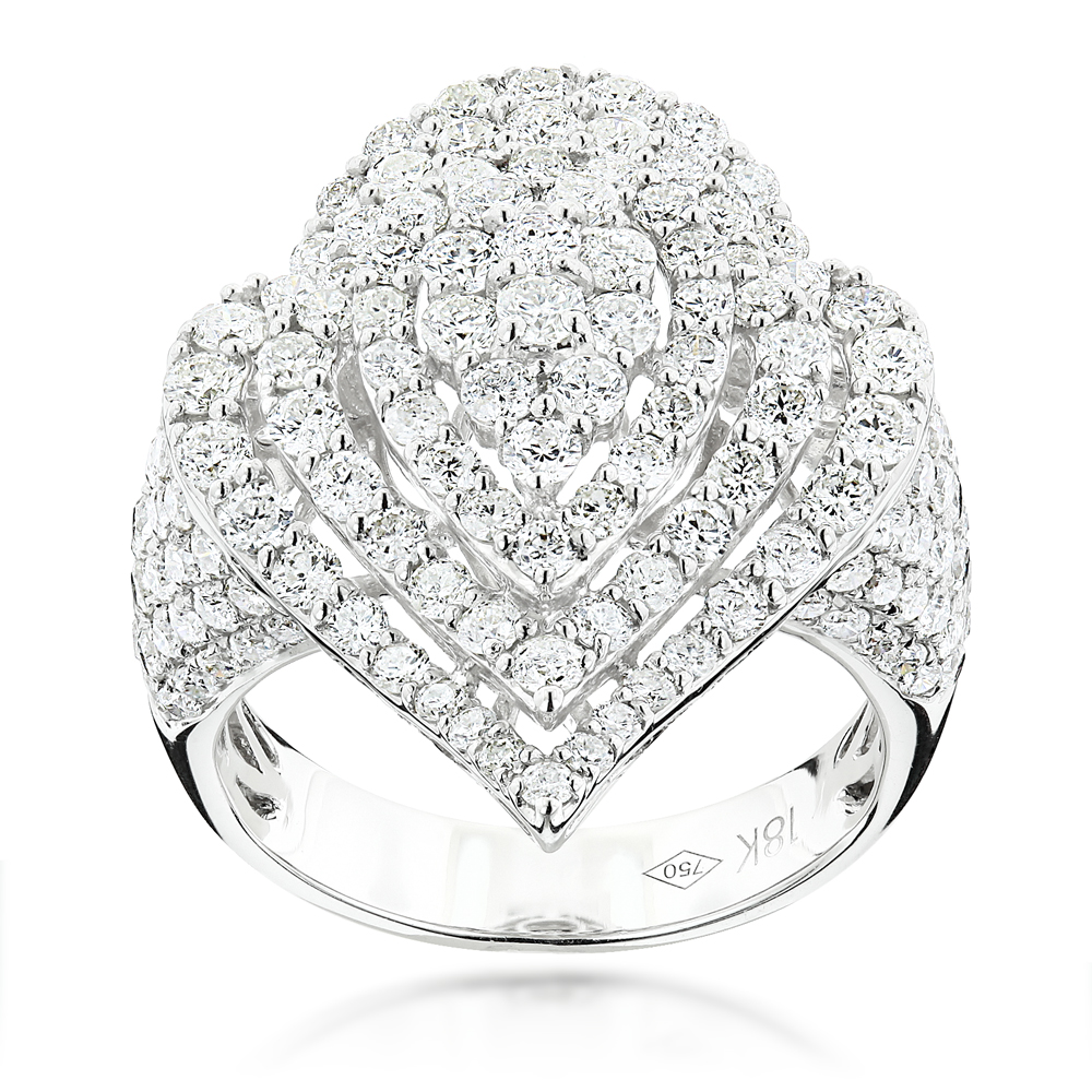 18K Gold Designer Diamond Drop Ring for Women 3.75ct