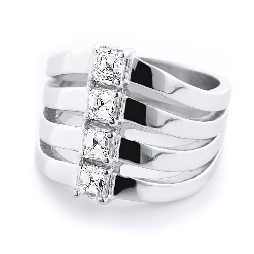 14K Gold Designer Diamond Ladies Ring 1.2ct w Asscher Cut Diamonds