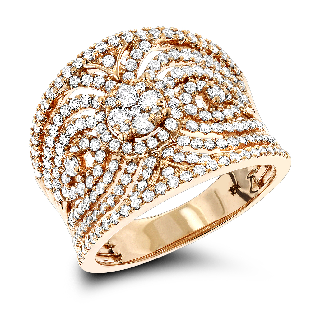 18K Gold Designer Diamond Right Hand Ring for Women 1.3ct by Luxurman