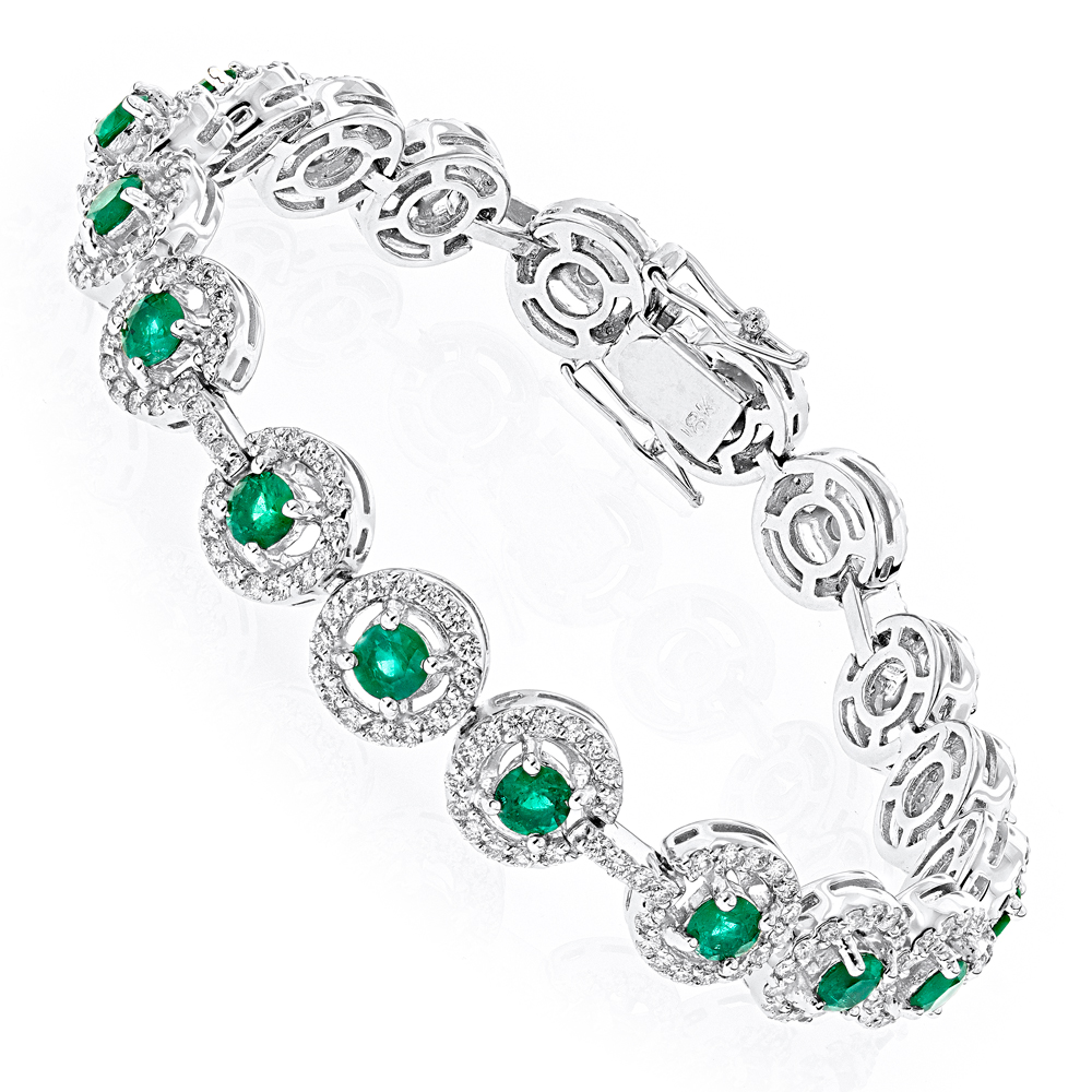 18K Gold Diamond and Emerald Bracelet 2.52dtw 3.56stw
