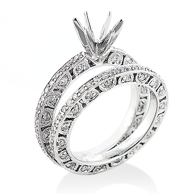 18K Gold Tacori Style Diamond Engagement Ring Mounting Set 1.82ct