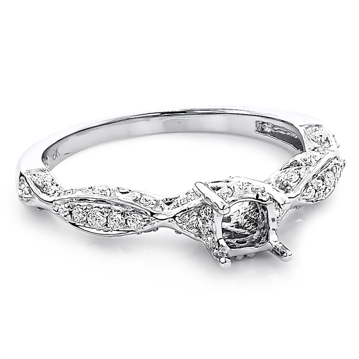 18K Gold Diamond Engagement Ring Setting 0.35ct Tacori Style