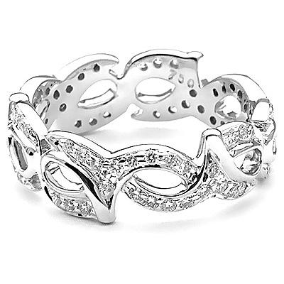 18K Gold Diamond Eternity Ring w Round Diamonds 0.58ct