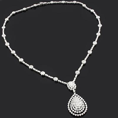 18K Gold Diamond Necklace 12.14ct LUCCELLO Designer Jewelry