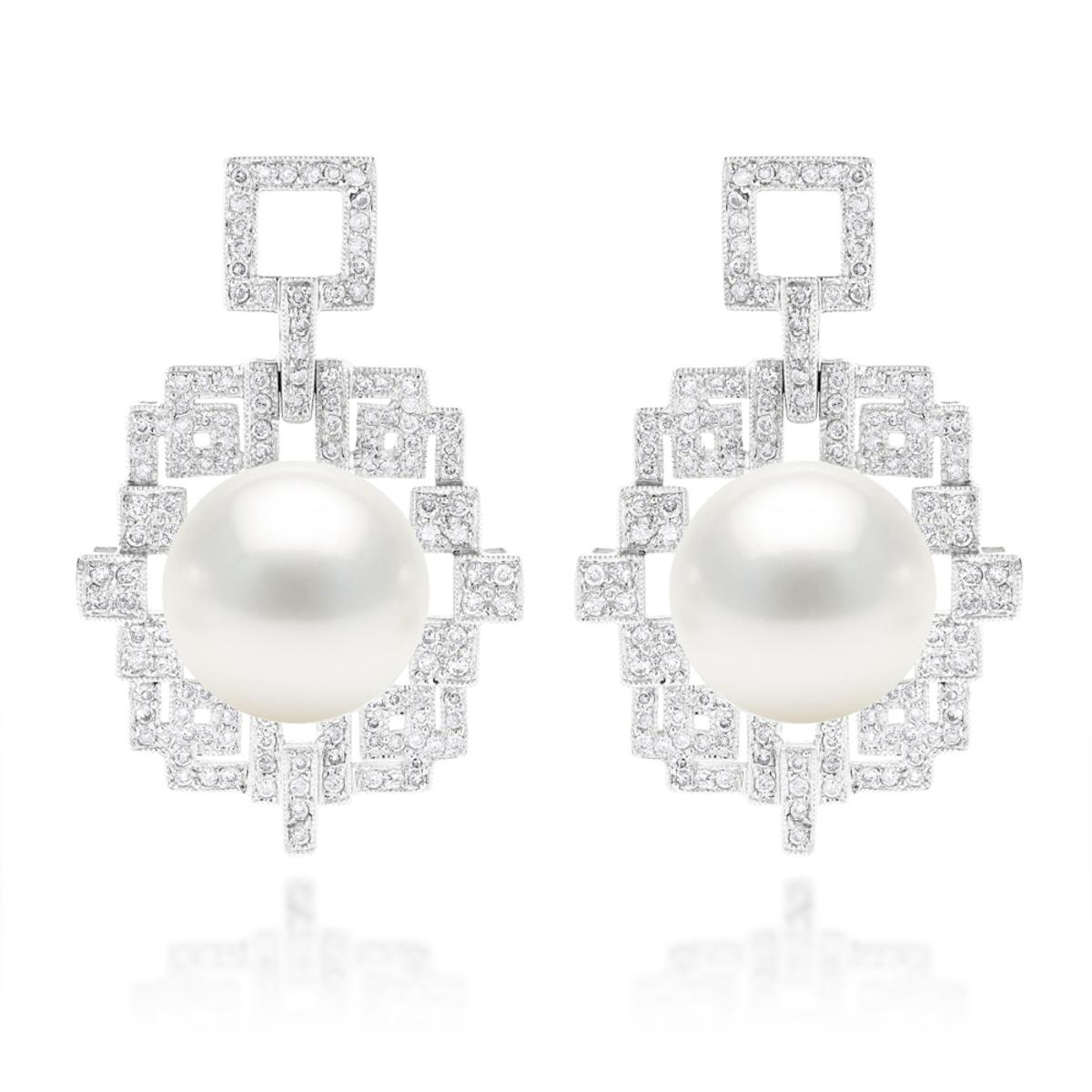 18K Gold Diamond & South Sea Pearl Earrings 2.01ct