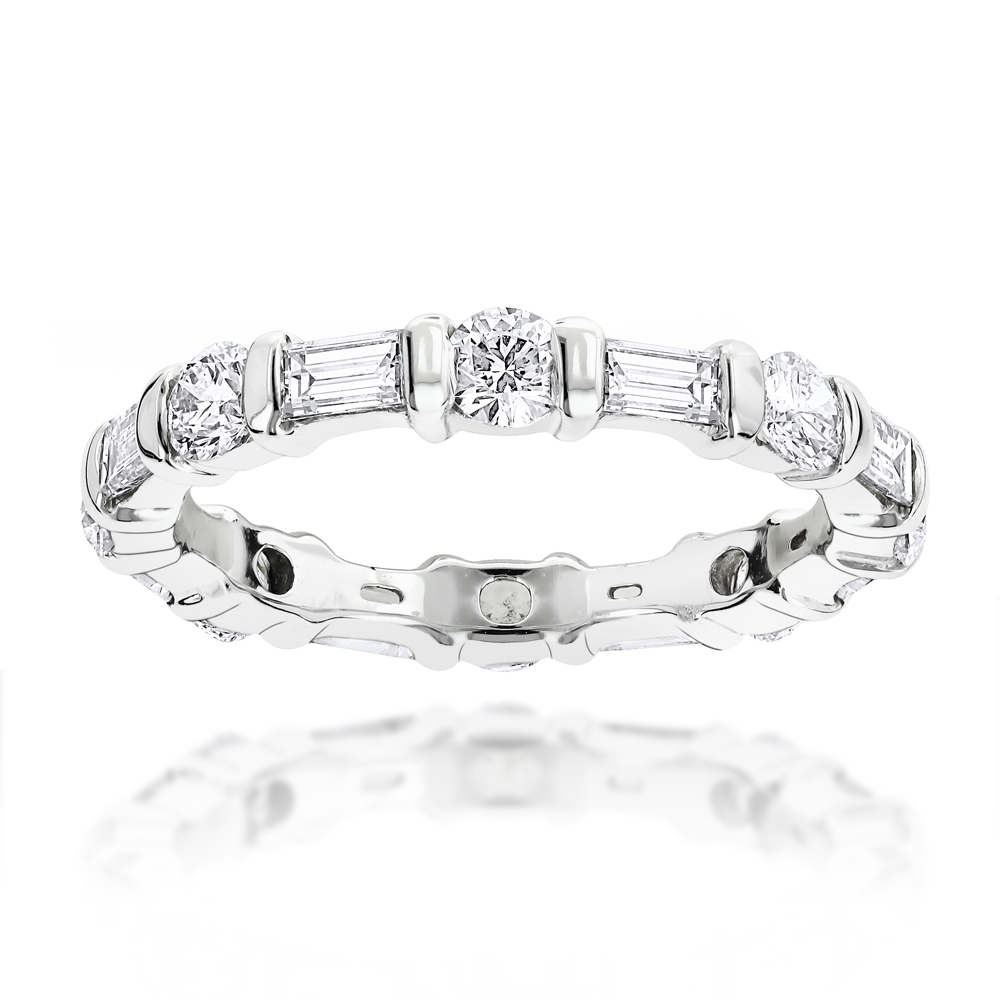 Thin 18K Gold Eternity Band Round Baguette Diamonds 2.05ct