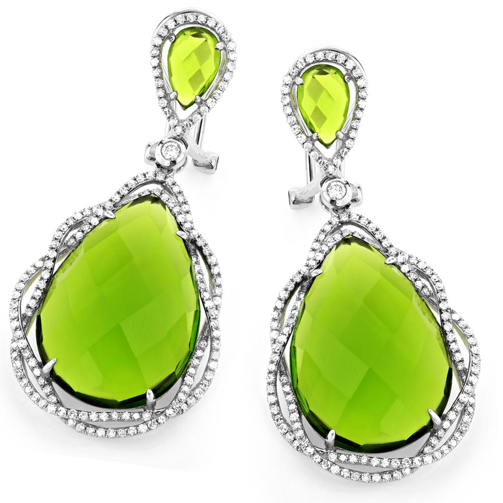 18K Gold Green Tourmaline Ladies Designer Diamond Earrings 0.94ct