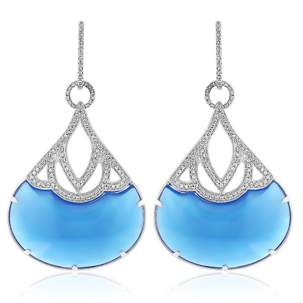 18K Gold Ladies Blue Onyx Diamond Unique Drop Earrings 0.92ct