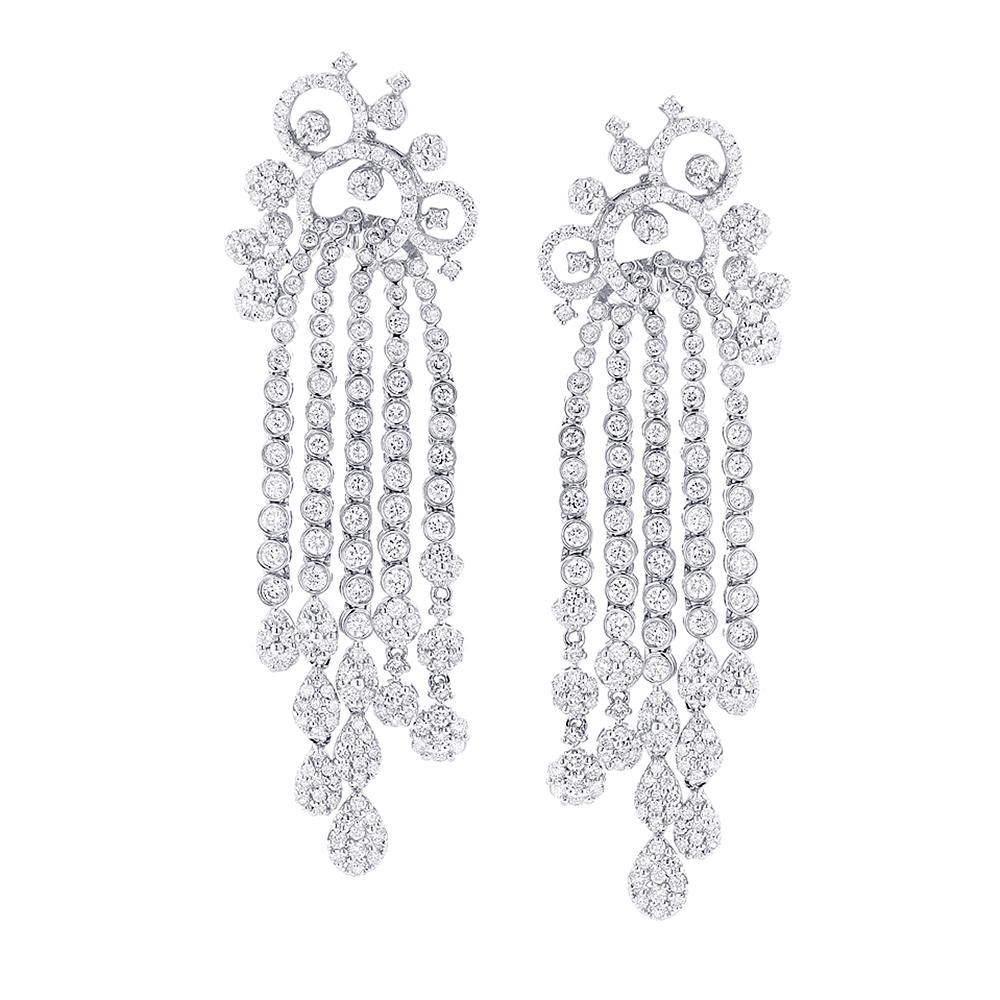 18K Gold Ladies Chandelier Designer Diamond  Earrings 6.29ctw