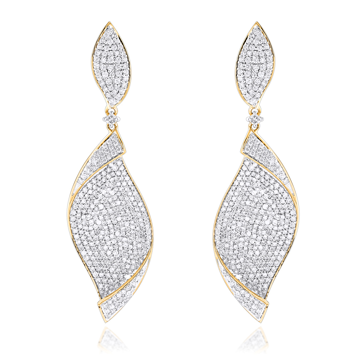 18K Gold Ladies Designer Diamond Leaf Earrings 3 carats