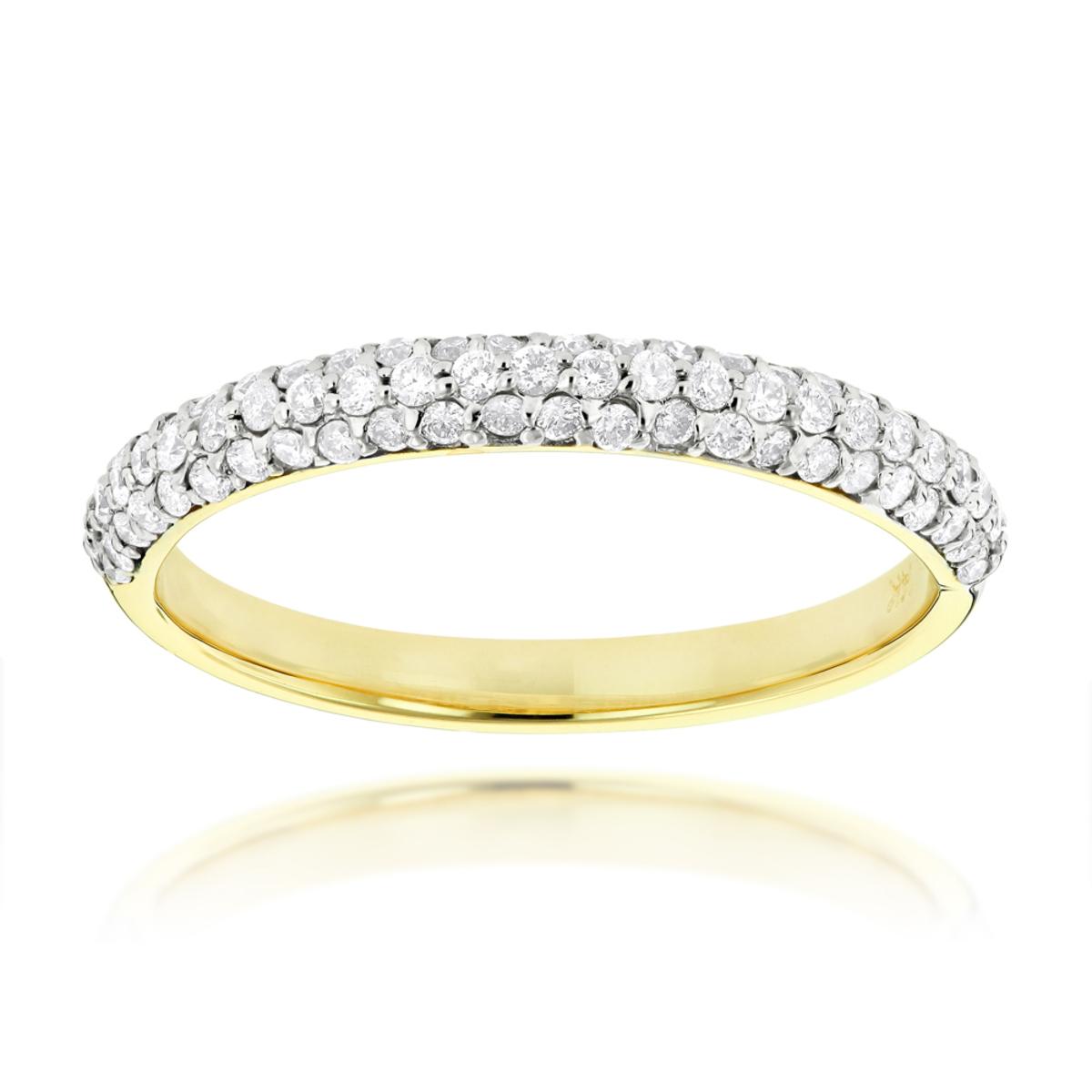 Thin 18k Gold Ladies Diamond Band Pave Diamonds 06ct