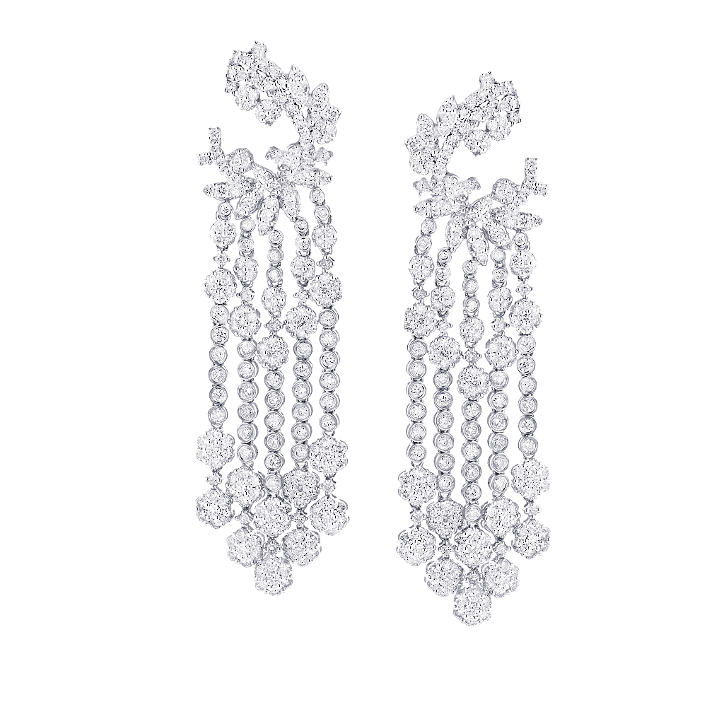 18K Gold Ladies Diamond Dangle Earrings 9.07ct