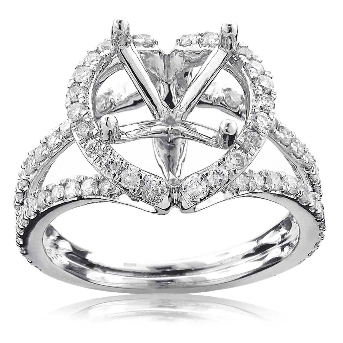 18K Gold Ladies Diamond Engagement Ring Semi Mounting 1ct