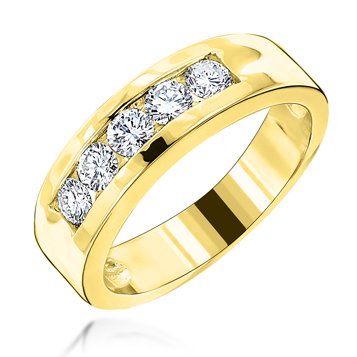 18K Gold Men's Diamond Wedding Ring 0.75ct