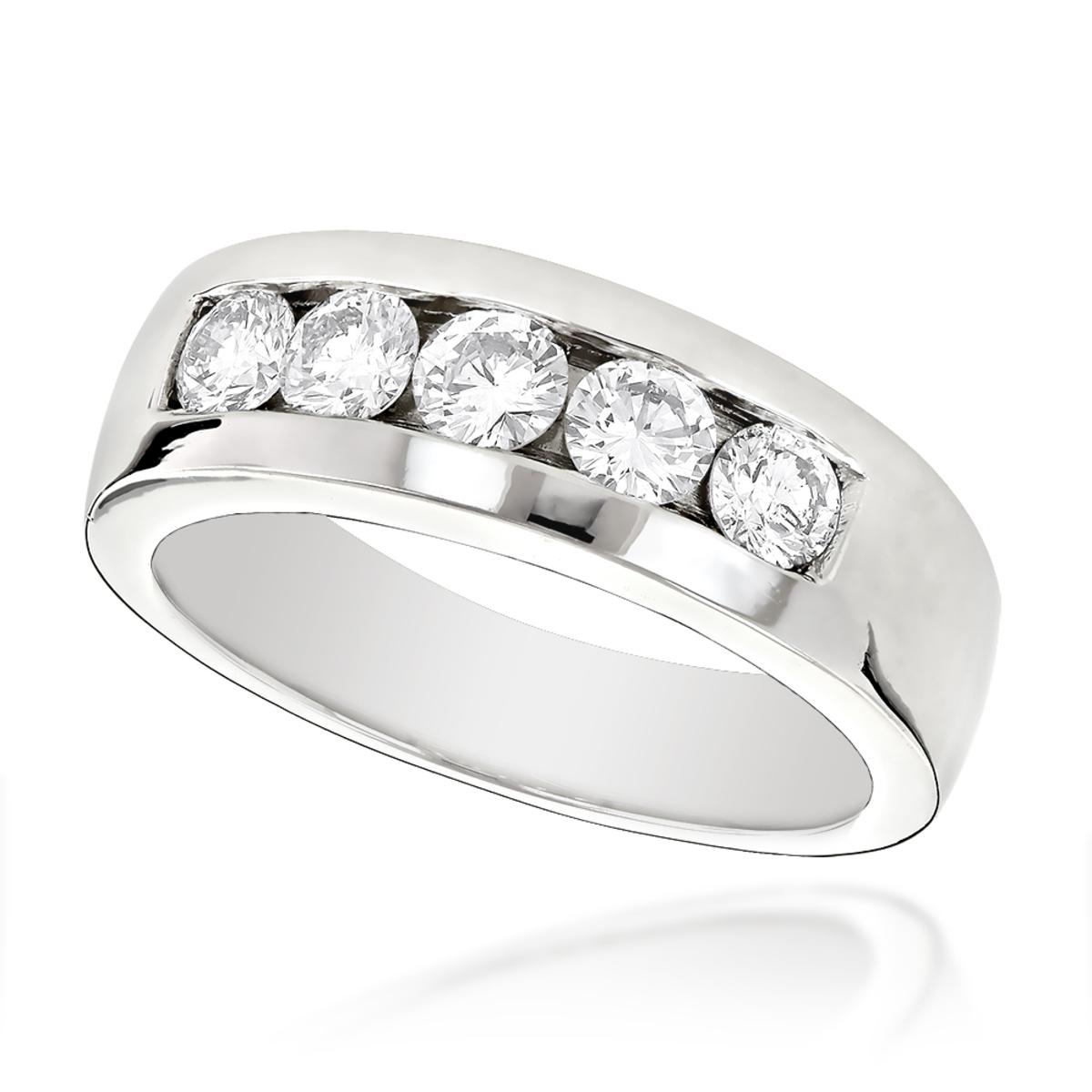 18K Gold Mens Diamond Wedding Ring 1ct