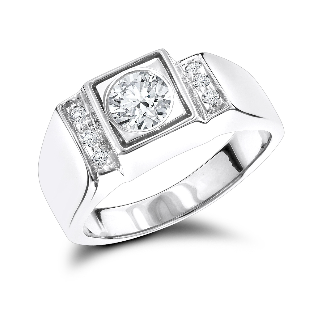 18K Gold One Carat Center Mens Diamond Engagement Ring Solitaire w Accents