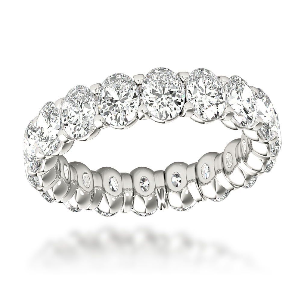 18K Gold Oval Diamond Eternity Ring 4ct G/VS by Luxurman