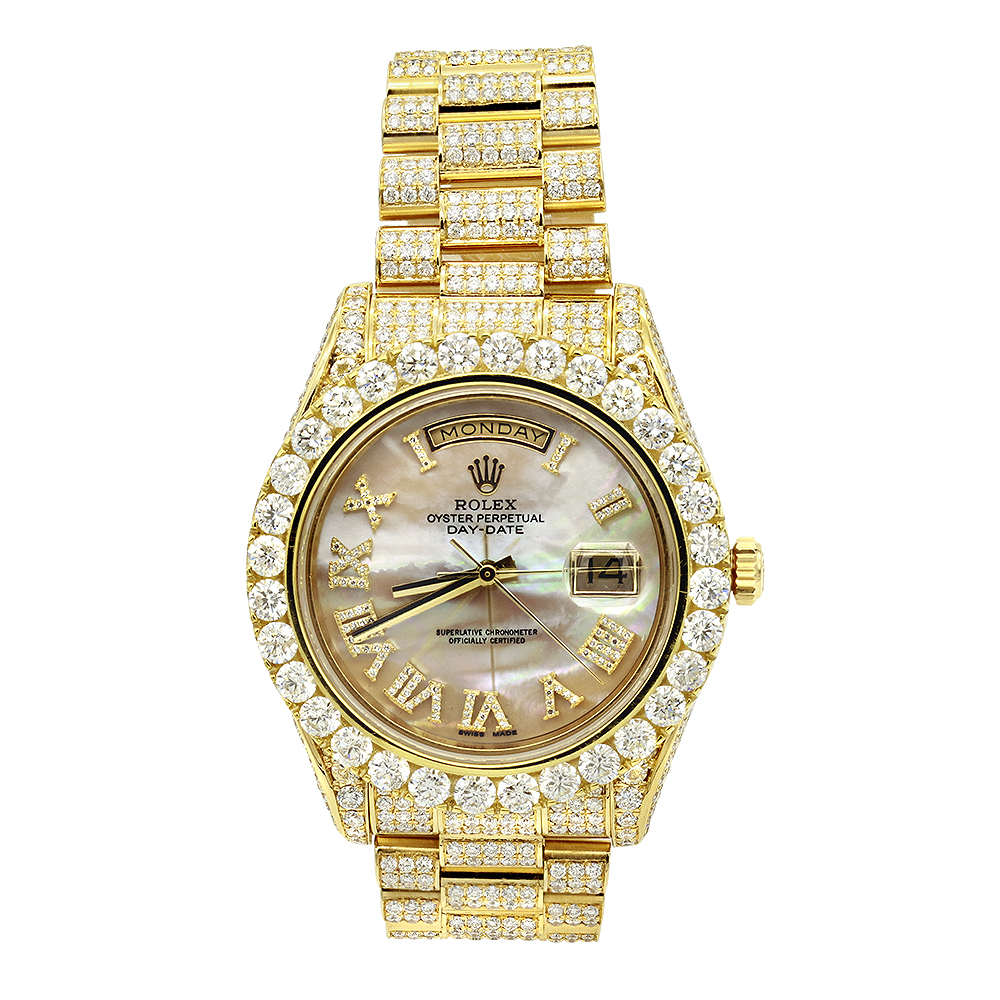 18k gold oyster perpetual iced out rolex diamond watch for