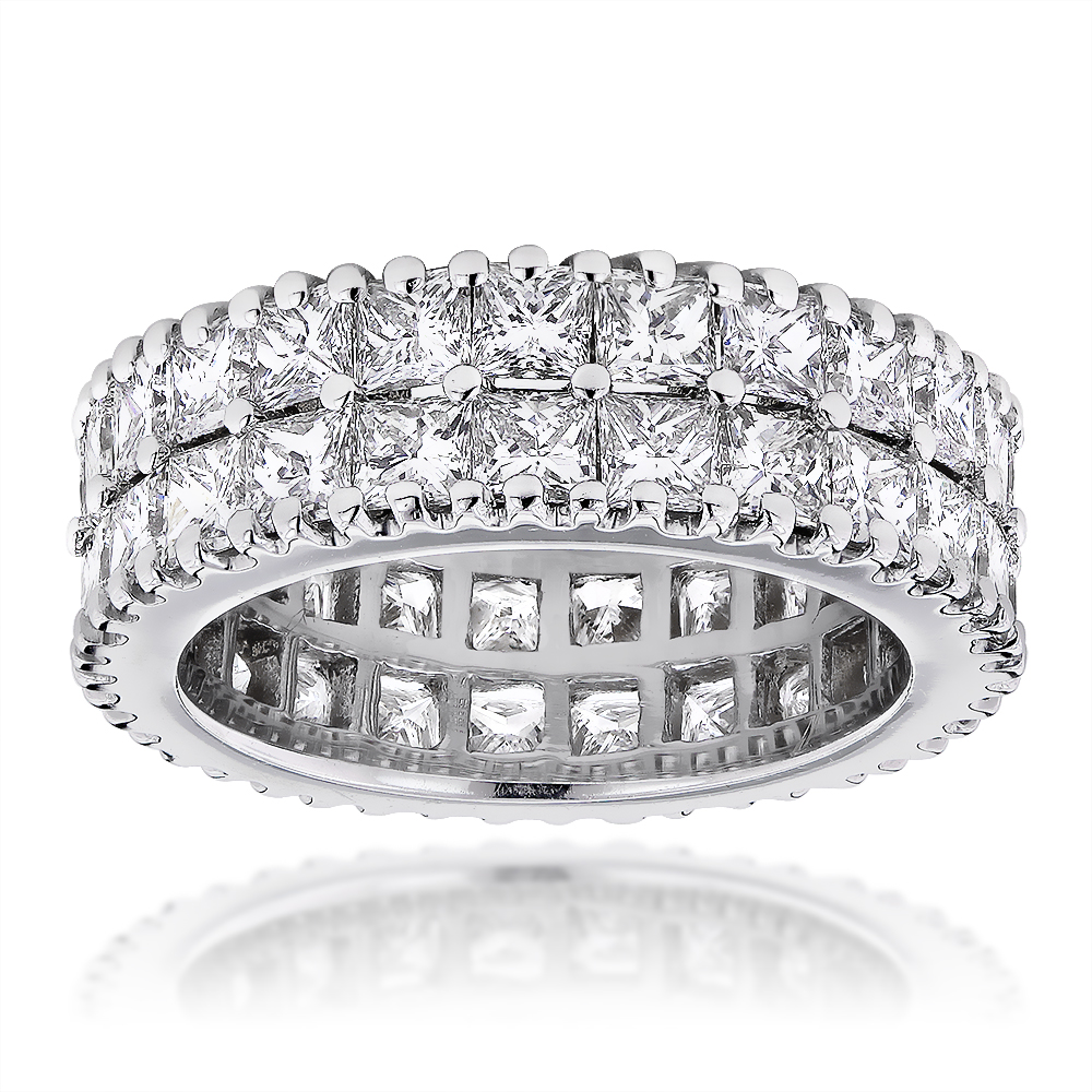 18K Gold Princess Cut Diamond Eternity Band Anniversary Ring 6.52ct VS