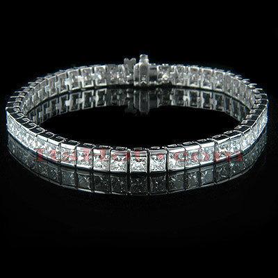 18K Gold Princess Cut Diamond Tennis Bracelet 12.62ct