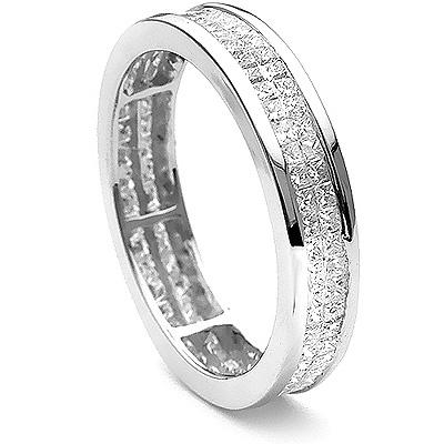 Thin 18K Gold Princess Diamond Eternity Ring 1.38ct