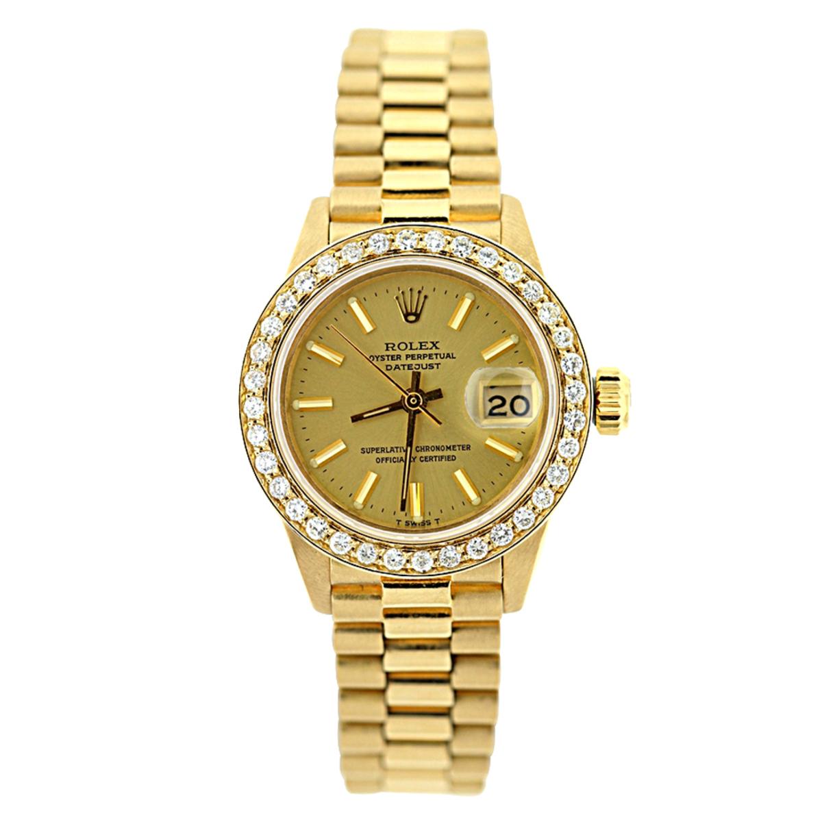 18K Gold Rolex Presidential Datejust Ladies Diamond Watch 1.2ct
