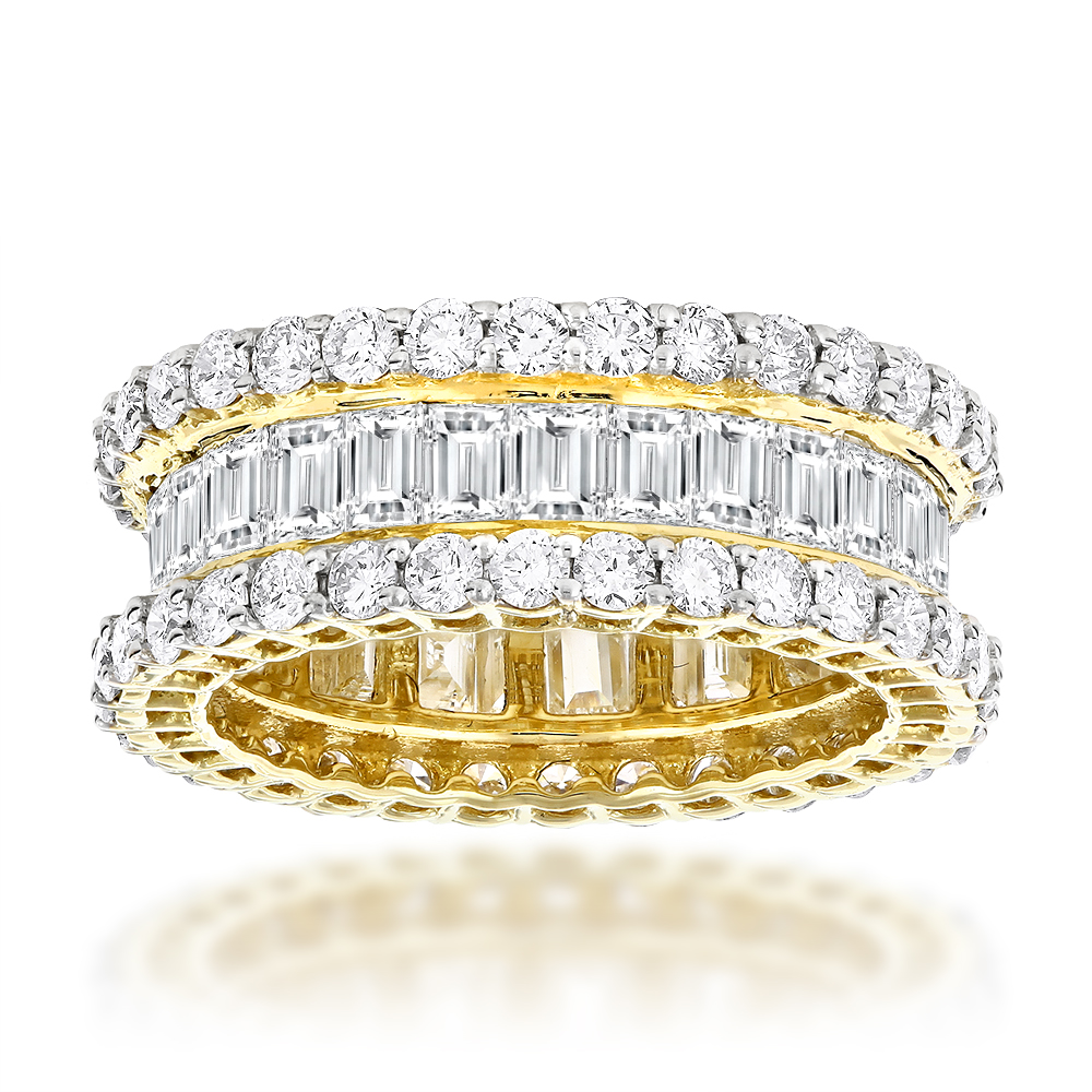 18K Gold Round & Baguette Diamond Eternity Band 6ct