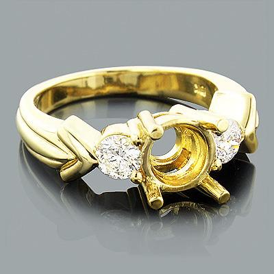 18K Gold Round Diamond Engagement Ring Setting 0.70ct