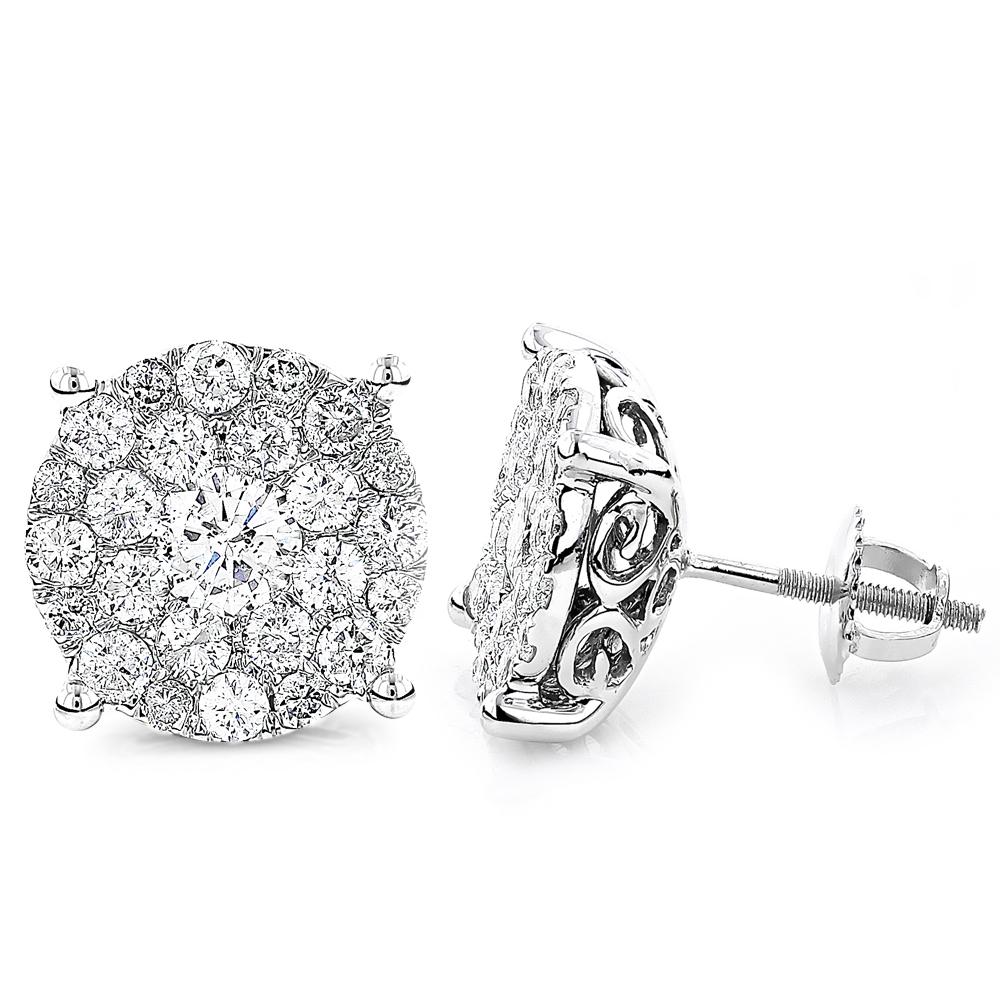 18K Gold Round Diamond Massive Stud Earrings for Men and Women 3 Carat