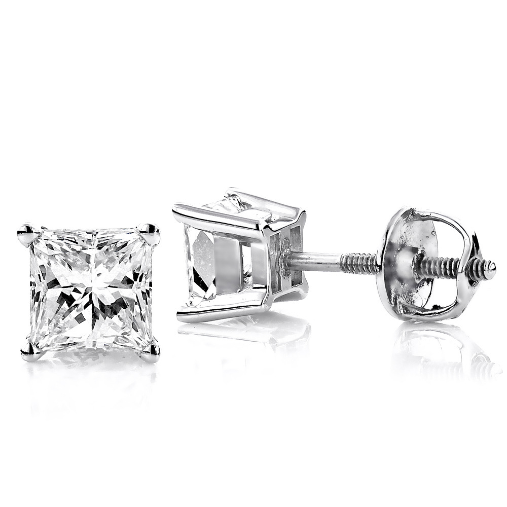 18K Gold Solitaire Princess Cut Diamond Stud Earrings 0.75ct