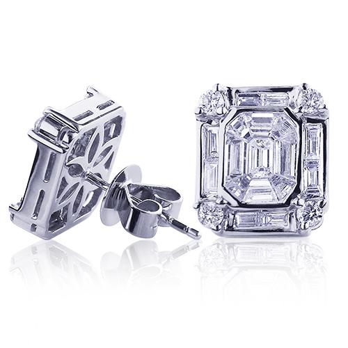 18K Gold Unique VS Diamond Stud Earrings 2.01ct