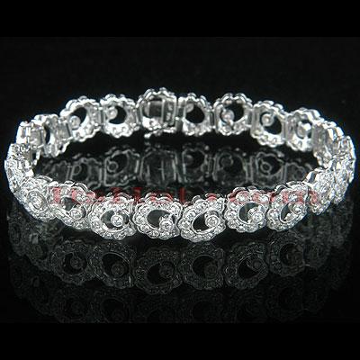 18K Gold Womens Designer Diamond Bracelet 5.06ct