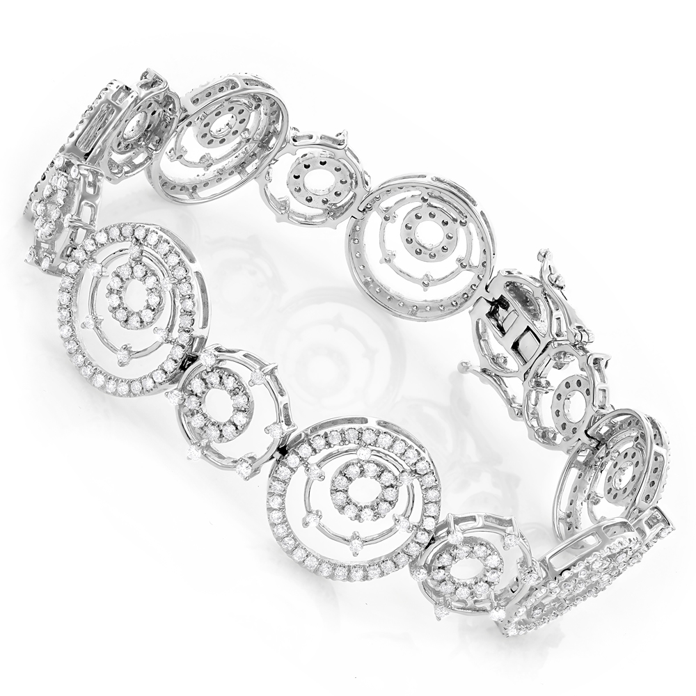 18K Gold Womens Multi Circle Diamond Bracelet 3.54ct