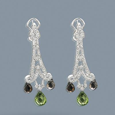 18K Gold Peridot Diamond Chandelier Earrings 0.99ct